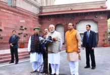 The Prime Minister, Shri Narendra Modi delivering his statement to media outside the Parliament House at the start of the Winter Session of Parliament, in New Delhi on December 15, 2017. The Union Minister for Chemicals & Fertilizers and Parliamentary Affairs, Shri Ananth Kumar, the Minister of State for Development of North Eastern Region (I/C), Prime Minister's Office, Personnel, Public Grievances & Pensions, Atomic Energy and Space, Dr. Jitendra Singh and the Minister of State for Parliamentary Affairs, Water Resources, River Development and Ganga Rejuvenation, Shri Arjun Ram Meghwal are also seen.