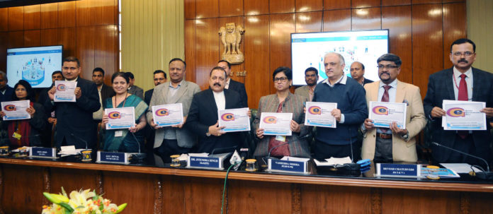 The Minister of State for Development of North Eastern Region (I/C), Prime Minister's Office, Personnel, Public Grievances & Pensions, Atomic Energy and Space, Dr. Jitendra Singh launching the electronic-Human Resource Management System (e-HRMS), during the observance of Good Governance Day by the Ministry of Personnel, Public Grievances and Pensions, in New Delhi on December 25, 2017. The Secretary, DoPT, Shri Ajay Mittal, the DG, NIC, Ms. Neeta Verma and officers of the Ministry are also seen.