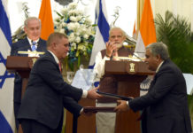 The Prime Minister, Shri Narendra Modi and the Prime Minister of Israel, Mr. Benjamin Netanyahu witnessing the Exchange of MoUs/Agreements between India and Israel, at Hyderabad House, in New Delhi on January 15, 2018.