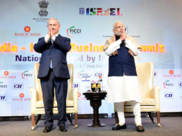 The Prime Minister, Shri Narendra Modi and the Prime Minister of Israel, Mr. Benjamin Netanyahu at the India-Israel Business Summit, in New Delhi on January 15, 2018.