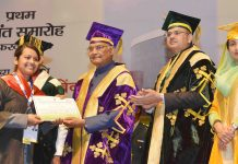 The President, Shri Ram Nath Kovind presenting the certificates to the students, at the 1st Convocation of the National Institute of Food Technology Entrepreneurship & Management (NIFTEM), at Sonipath, in Haryana on February 10, 2018. The Union Minister for Food Processing Industries, Smt. Harsimrat Kaur Badal is also seen.