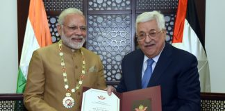 In a special recognition of the Prime Minister, Shri Narendra Modi's contribution to relations between India and Palestine, the President of the State of Palestine, Mr. Mahmoud Abbas conferred the Grand Collar of the State of Palestine on him after the conclusion of their bilateral meeting, at Ramallah, Palestine on February 10, 2018.
