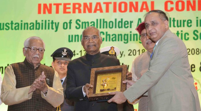 """The President, Shri Ram Nath Kovind at the inauguration of the International Conference """"Agricon 2018"""", at Chandra Shekhar Azad University of Agriculture & Technology, in Kanpur, Uttar Pradesh on February 14, 2018. The Governor of Uttar Pradesh, Shri Ram Naik is also seen."""