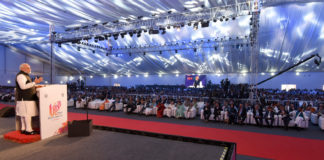 The Prime Minister, Shri Narendra Modi addressing at the inauguration of the UP Investors Summit 2018, in Lucknow, Uttar Pradesh on February 21, 2018.