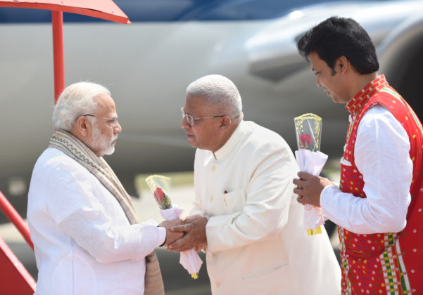 The Prime Minister, Shri Narendra Modi being received by the Governor of Tripura, Shri Tathagata Roy, on his arrival, at Agartala on March 09, 2018.