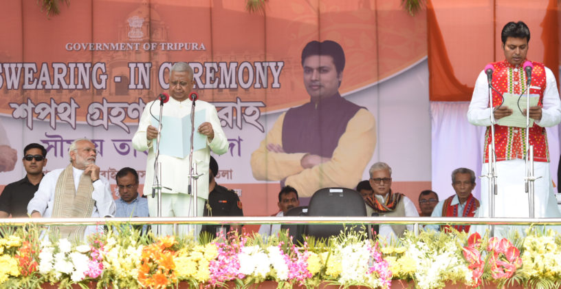 The Prime Minister, Shri Narendra Modi attending the oath taking ceremony of Shri Biplab Kumar Deb as Chief Minister of Tripura, in Agartala on March 09, 2018. The Governor of Tripura, Shri Tathagata Roy is also seen.