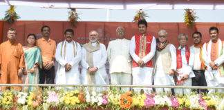 The Prime Minister, Shri Narendra Modi attending the oath taking ceremony of the Council of Ministers of the Tripura Government, in Agartala in Agartala on March 09, 2018. The Governor of Tripura, Shri Tathagata Roy is also seen.