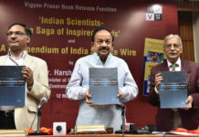 The Union Minister for Science & Technology, Earth Sciences and Environment, Forest & Climate Change, Dr. Harsh Vardhan releasing a Compendium of India Science Wire, at a function, in New Delhi on March 12, 2018. The Secretary, Department of Science and Technology, Prof. Ashutosh Sharma is also seen.