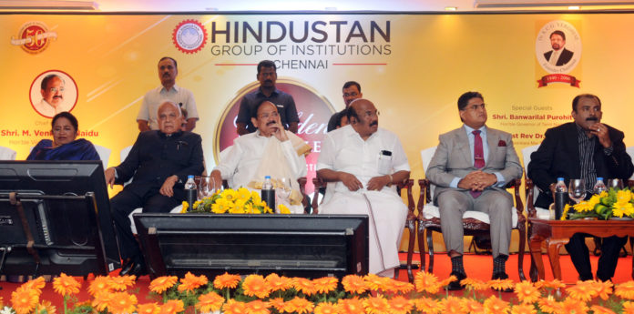 The Vice President, Shri M. Venkaiah Naidu at the valedictory function of Golden Jubilee Celebrations of Hindustan Group of Institutions, in Chennai on March 16, 2018. The Governor of Tamil Nadu, Shri Banwarilal Purohit, the Minister for Fisheries, Personnel and Administrative Reforms, Shri D. Jayakumar and other dignitaries are also seen.