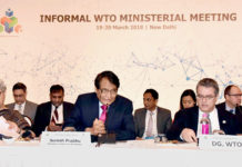 The Union Minister for Commerce & Industry and Civil Aviation, Shri Suresh Prabhakar Prabhu addressing the Informal WTO Ministerial Meeting, in New Delhi on March 20, 2018. The DG, WTO, Mr. Roberto Azevedo and the Commerce Secretary, Ms. Rita A. Teaotia are also seen.