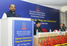 The Minister of State for Home Affairs, Shri Hansraj Gangaram Ahir addressing at the inauguration of the first National Conference on Drug Law Enforcement, organised by Narcotics Control Bureau (NCB), Ministry of Home Affairs, in New Delhi on March 23, 2018. The Director General of NCB, Shri Abhay is also seen.