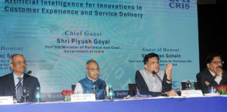 "The Union Minister for Railways and Coal, Shri Piyush Goyal addressing a Conference on ""Artificial Intelligence for Innovations in Customer Experience and Service Delivery"", in New Delhi on March 24, 2018."