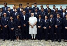 The Prime Minister, Shri Narendra Modi with the Medal Winners of the Commonwealth Games, in New Delhi on April 30, 2018. The Minister of State for Youth Affairs and Sports (I/C) and Information & Broadcasting, Col. Rajyavardhan Singh Rathore is also seen.