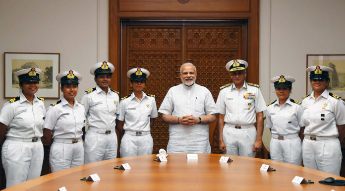 The Prime Minister, Shri Narendra Modi meeting the crew of INSV Tarini which successfully circumnavigated the globe, in New Delhi on May 23, 2018. The Chief of Naval Staff, Admiral Sunil Lanba is also seen.
