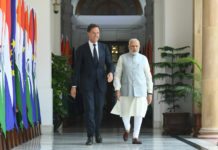 The Prime Minister, Shri Narendra Modi with the Prime Minister of the Kingdom of Netherlands, Mr. Mark Rutte, at Hyderabad House, in New Delhi on May 24, 2018.