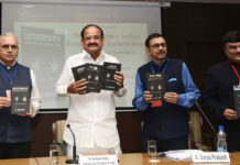 """The Vice President, Shri M. Venkaiah Naidu releasing the Hindi, Gujarati, Telugu and Kannada editions of the book titled """"The Emergency - Indian Democracy's Darkest Hour"""", authored by the Chairman, Prasar Bharati, Dr. A. Surya Prakash, at a function, in New Delhi on June 25, 2018."""