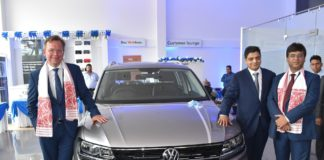 (From L to R) Mr. Steffen Knapp, Director, Volkswagen Passenger Cars along with Mr. Charchit Mishra, Director, OSL Exclusive and Mr. Ashish Gupta, Head of Sales, Volkswagen Passenger Cars unveil the Tiguan at the newly inaugurated dealership, Volkswagen Guwahati