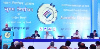"""The Chief Election Commissioner, Shri O.P. Rawat addressing at the inauguration of the National Consultation on """"Inclusion of Persons with Disabilities (PwDs) in the Electoral Process"""", in New Delhi on July 03, 2018. The Election Commissioners, Shri Sunil Arora and Shri Ashok Lavasa are also seen."""