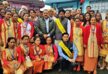 "The Minister of State for Development of North Eastern Region (I/C), Prime Minister's Office, Personnel, Public Grievances & Pensions, Atomic Energy and Space, Dr. Jitendra Singh during the Meghalaya Annual Cultural Festival ""Behdienkhlam"", at Jowai on July 03, 2018."
