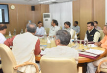 The Chief Minister of Madhya Pradesh, Shri Shivraj Singh Chouhan, the Chief Minister of Uttar Pradesh, Yogi Adityanath, the CEO, NITI Aayog, Shri Amitabh Kant and other dignitaries at the First Meeting of CM's Subgroup on Convergence of MGNREGs & Agriculture Policies, in New Delhi on July 12, 2018.