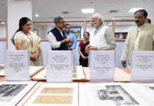 The Prime Minister, Shri Narendra Modi at the inauguration of the 'Dharohar Bhawan', the new building of Archaeological Survey of India, at Tilak Marg, in New Delhi on July 12, 2018. The Minister of State for Culture (I/C) and Environment, Forest & Climate Change, Dr. Mahesh Sharma, the Secretary, Ministry of Culture, Shri Raghvendra Singh and the DG, Archaeological Survey of India (ASI), Ms. Usha Sharma are also seen.