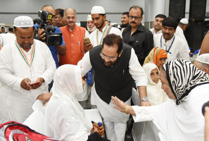 The Union Minister for Minority Affairs, Shri Mukhtar Abbas Naqvi at the flag-off ceremony of the First Flight of Haj Pilgrimage from Haj Terminal, in New Delhi on July 14, 2018.