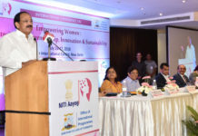 The Vice President, Shri M. Venkaiah Naidu addressing the International Conference on 'Empowering Women: Fostering Entrepreneurship, Innovation and Sustainability', organised by the NITI Aayog and Shri Ram College of Commerce, in New Delhi on July 16, 2018. The Lt. Governor of Puducherry, Dr. Kiran Bedi, the CEO of NITI Aayog, Shri Amitabh Kant and other dignitaries are also seen.