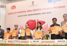 "The Union Minister for Health & Family Welfare, Shri J.P. Nadda launching the ""National Viral Hepatitis Control Program"", at a function, in New Delhi on July 28, 2018. The Minister of State for Communications (I/C) and Railways, Shri Manoj Sinha, the Ministers of State for Health & Family Welfare, Shri Ashwini Kumar Choubey and Smt. Anupriya Patel and the Secretary, Ministry of Health & Family Welfare, Smt. Preeti Sudan are also seen."