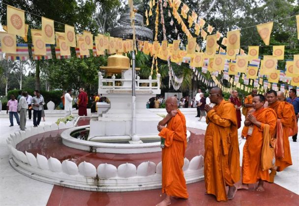 The delegates of the International Buddhist Conclave- 2018 offering prayers at Bamboo Grove (Venu Van), in Rajgir, Bihar on August 25, 2018.