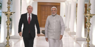 The Prime Minister, Shri Narendra Modi meeting the President of Russian Federation, Mr. Vladimir Putin, in New Delhi on October 04, 2018.