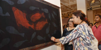 The Union Minister for Textiles, Smt. Smriti Irani visiting after inaugurating the Textiles exhibition 'Revisiting Gandhi', in New Delhi on October 06, 2018.