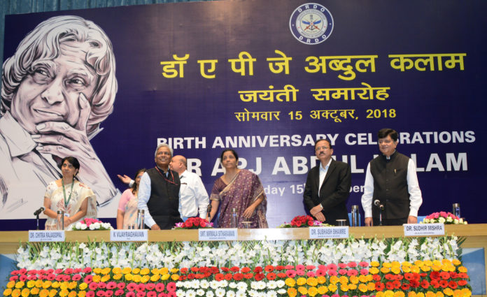 The Union Minister for Defence, Smt. Nirmala Sitharaman launching a DRDO website dedicated to the theme 'The Kalam Vision - Dare to Dream', during the 87th Birth Anniversary function of the former President of India and DRDO Chief, Dr. A.P.J. Abdul Kalam, on his 87th Birth Anniversary, at DRDO Bhawan, New Delhi on October 15, 2018. The Minister of State for Defence, Dr. Subhash Ramrao Bhamre and other dignitaries are also seen.