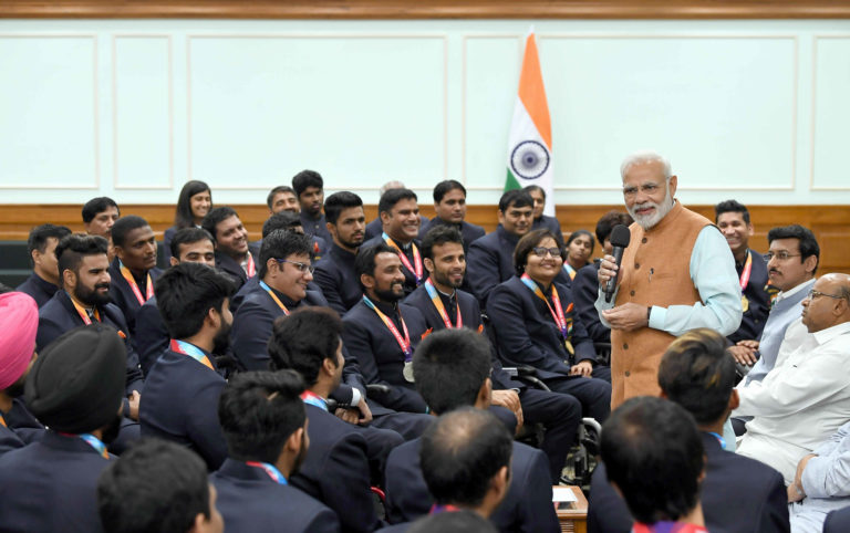PM felicitates medal winners of 2018 Asian Para Games