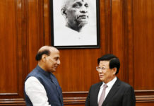 The Union Home Minister Shri Rajnath Singh with the State Councillor and Minister for Public Security of the People's Republic of China, Mr. Zhao Kezhi, in New Delhi on October 22, 2018.