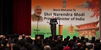 The Prime Minister, Shri Narendra Modi addressing a gathering of the Indian community, in Japan on October 29, 2018.