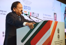 The Union Minister for Science & Technology, Earth Sciences and Environment, Forest & Climate Change, Dr. Harsh Vardhan addressing at the inauguration of the India-Italy Technology Summit, in New Delhi on October 29, 2018.
