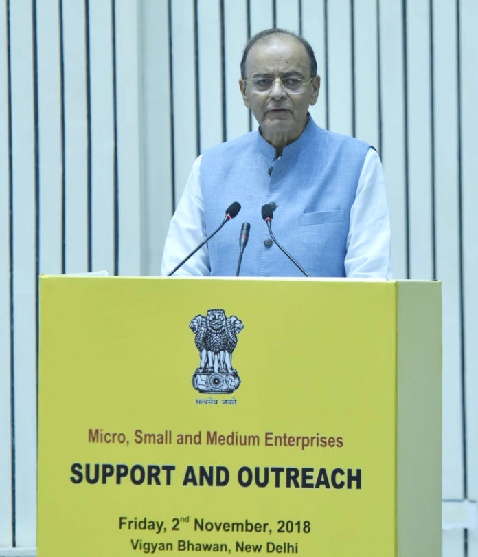 The Union Minister for Finance and Corporate Affairs, Shri Arun Jaitley addressing at the launch of the Support and Outreach Initiative for MSMEs, in New Delhi on November 02, 2018.