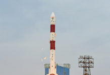 """PSLV C-43, carrying Indian Earth Observation Satellite """"HysIS"""" and 30 foreign co-passenger satellites being launched from the First Launch Pad, at Satish Dhawan Space Centre, SHAR, Sriharikota, in Andhra Pradesh on November 29, 2018."""