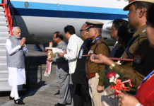 The Prime Minister, Shri Narendra Modi being received by the dignitaries on his arrival, at Dibrugarh, Assam on December 25, 2018.
