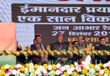 The Prime Minister, Shri Narendra Modi addressing at the function to mark one-year of Himachal Pradesh Government, in Dharamshala, Himachal Pradesh on December 27, 2018. The Governor of Himachal Pradesh, Shri Acharya Devvrat, the Chief Minister of Himachal Pradesh, Shri Jai Ram Thakur and other dignitaries are also seen.