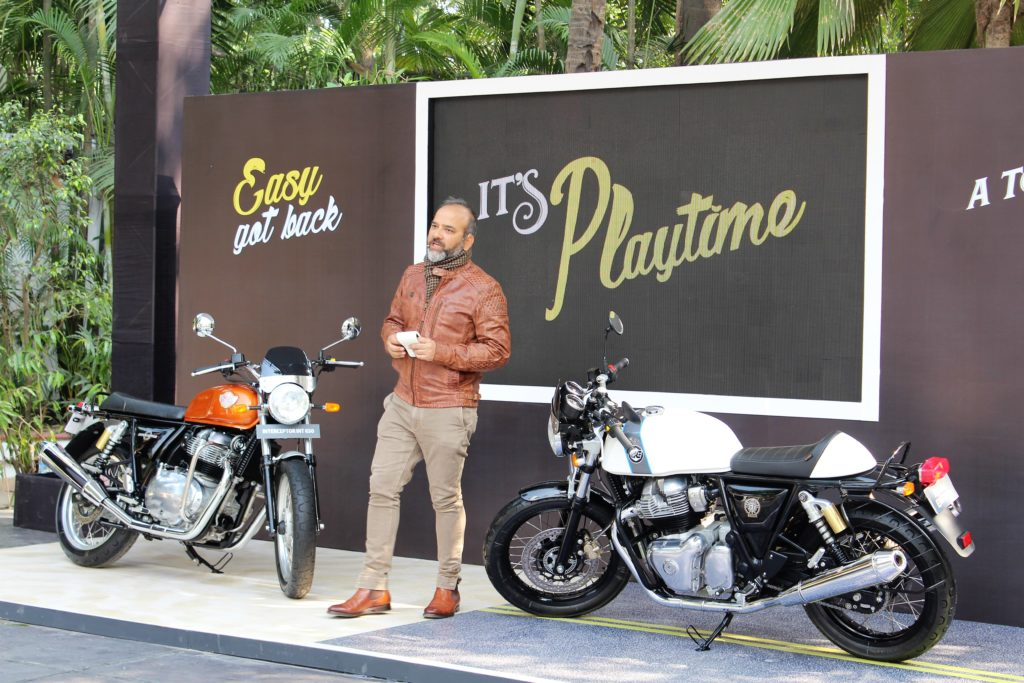 Mr. Rudratej Singh, President Royal Enfield at the launch of their new twin motorcycles Interceptor INT 650 and Continental GT 650 in Kolkata