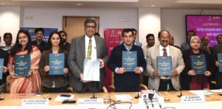 The CEO, NITI Aayog, Shri Amitabh Kant along with the Mission Director, Atal Innovation Mission, Shri Ramanathan Ramanan and the Managing Director, Dell EMC India, Shri Alok Ohrie releasing the Atal Tinkering Lab (ATL) Handbook, on the eve of the National Youth Day, in New Delhi on January 11, 2019.