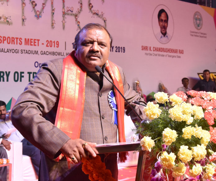The Minister of State for Tribal Affairs, Shri Jaswantsinh Sumanbhai Bhabhor addressing at the inauguration of the 1st Eklavya Model Residential Schools (EMRS) National sports meet 2019, in Hyderabad on January 14, 2019.