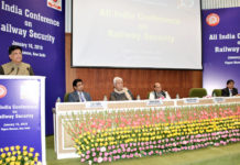The Union Minister for Railways and Coal, Shri Piyush Goyal addressing the Conference on Railway Security, in New Delhi on January 16, 2019. The Union Home Minister, Shri Rajnath Singh, the Minister of State for Communications (I/C) and Railways, Shri Manoj Sinha and the DG, Railway Protection Force, Shri Arun Kumar are also seen.