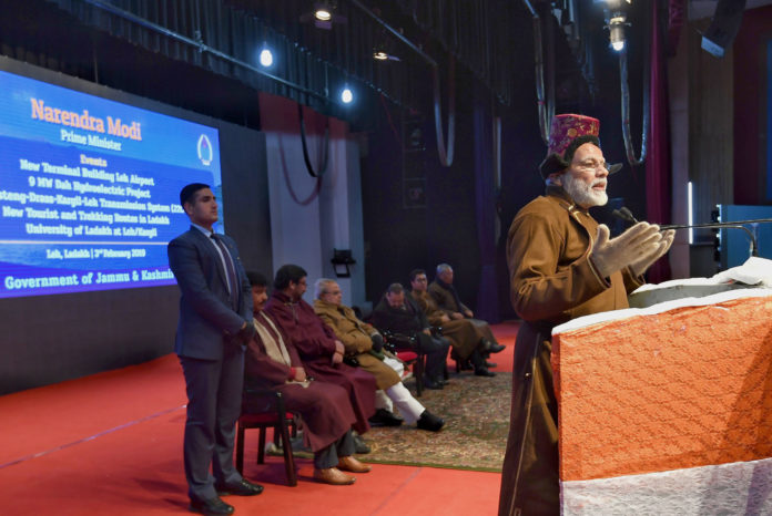 The Prime Minister, Shri Narendra Modi addressing the gathering at a function, in Leh, Jammu and Kashmir on February 03, 2019.
