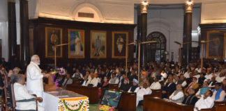 The Prime Minister, Shri Narendra Modi addressing at the unveiling ceremony of portrait of the former Prime Minister, Shri Atal Bihari Vajpayee, at the Central Hall of Parliament, in New Delhi on February 12, 2019.