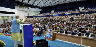 The Prime Minister, Shri Narendra Modi addressing the gathering at the National Youth Parliament Festival, 2019, in New Delhi on February 27, 2019.