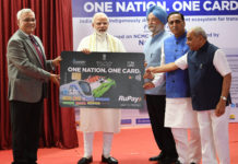 The Prime Minister, Shri Narendra Modi launching the One Nation, One Card for transport mobility, at a function, in Ahmedabad, Gujarat on March 04, 2019. The Chief Minister of Gujarat, Shri Vijay Rupani, the Minister of State for Housing and Urban Affairs (I/C), Shri Hardeep Singh Puri, the Deputy Chief Minister of Gujarat, Shri Nitinbhai Patel and the Secretary, Ministry of Housing and Urban Affairs, Shri Durga Shanker Mishra are also seen.