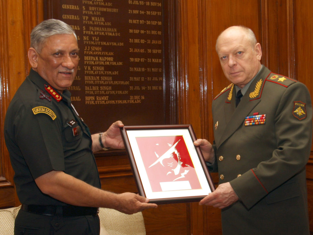 The Land Forces Cdr. Russian Federation, Col. Gen. Salyukov Oleg Leonidovich meeting the Chief of Army Staff, General Bipin Rawat, in New Delhi on March 14, 2019.