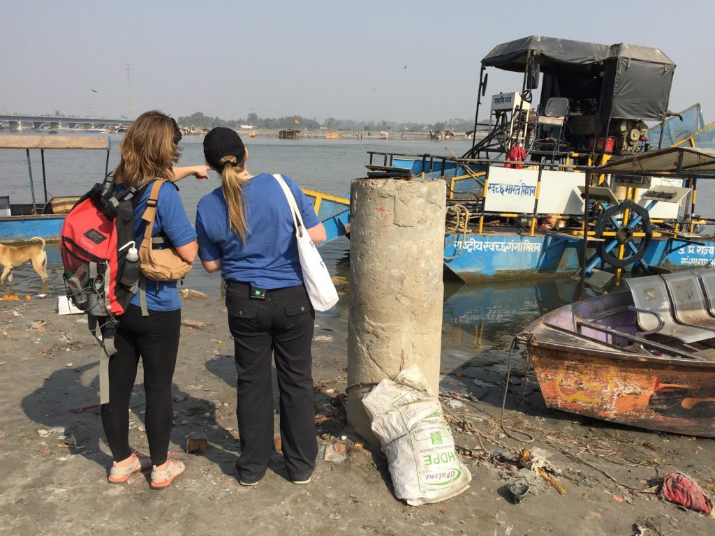 """Heather Koldewey and Jenna Jambeck, National Geographic Fellows and Scientific Co-Leads of the """"Sea to Source: Ganges"""" expedition, in India. Photo credit Taylor Maddalene"""